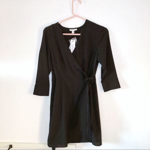 Topshop Black Belt Waist Wrap V Neck Dip Dress